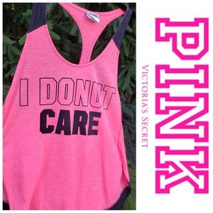 VS Pink I Donut Care Pink Black Racerback Tank XS